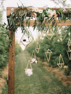 XL Brass Hanging Wedding Decorations Modern Geometric by ModLode