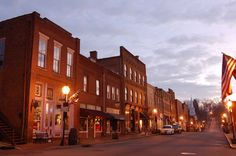 """Jonesborough, TN : Downtown Jonesborough at dawn... """"When you enter Historic Jonesborough, Tennessee, you're taking a journey into the past. A unique 18th century town nestled in the Appalachian Mountains of Northeast Tennessee, Jonesborough's natural beauty, charming architecture, and storytelling heritage have attracted visitors worldwide."""""""