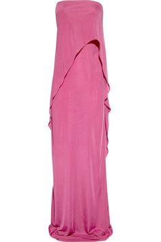 Strapless satin-jersey gown by Bottega Veneta