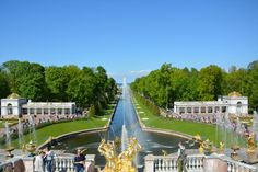 View from the Peterhof palace to the Finish bay with canal especialy made for Peter the first