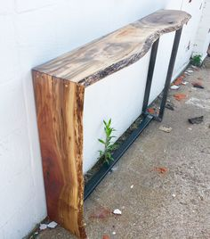Live edge Walnut and steel waterfall sofa table/entry table...
