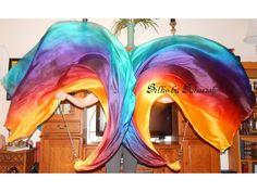 Sahariah's Silk Belly Dance Veil Killer Tornado Poi Voi Set 2 Poi Veils and Set of Poi Chains Flow Art Silks by Sahariah by SilksbySahariah on Etsy