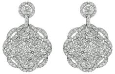 """Secrète"" #Earrings from #TalismansDeChanel - #Chanel - #FineJewellery collection in 18K white gold set with 314 #BrilliantCut - #Diamonds for (total weight of 7.2 carats) july 2015 ---"