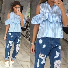 e3305a14f Simplee Apparel sexy off shoulder ruffle striped blouse women Casual  turn-down collar blusas Short butterfly sleeve plaid blouse