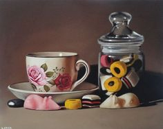 jar of sweets with rose tea cup (sold) Oil on board by Lucy Crick Jars Of Sweets, Still Life Artists, Still Life Drawing, Candy Cakes, Food Painting, Realistic Paintings, Art Sites, Food Drawing, Good Enough To Eat