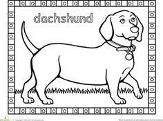Worksheets Dachshund Coloring Page