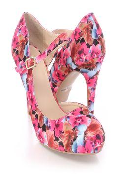 Fuchsia Floral Print D-Orsay Maryjane High Heels Fabric High Heel Pumps, Pumps Heels, Stiletto Heels, Prom Shoes, Dress Shoes, Club Shoes, Floral Heels, Cute Heels, Spring Shoes