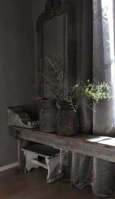 rustic shades of grey Wabi Sabi, Rustic Style, Modern Rustic, Rustic Decor, Interior Decorating, Interior Design, Living Styles, Minimalist Living, Rustic Interiors