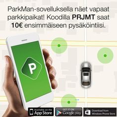 ParkMan-sovelluksella näet vapaat parkkipaikat! Koodilla PRJMF saat 10 € ensimmäiseen pysäköintiisi. www.parkmanworld.com #parkkeeraus #parking