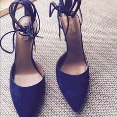 Aquazzura Amanda Suede d'orsay Pump Ink 39 NIB This pump it is crafted of dark navy suede that features a delicate cord that ties at the ankle. Lattice ankle wrap with lace up front. Heel is 3 inches new in box never worn. Aquazzura Shoes Heels