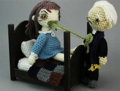 The Exorcist Amigurumi. It's a Japanese toy, Wiki even has a page about them! Amigurumi have a yuru chara charm to them, how do I say. Crochet Dolls, Knit Crochet, Crochet Hats, Crochet Style, Funny Crochet, Classic Horror Movies, The Exorcist, Exorcist Movie, Learn To Crochet