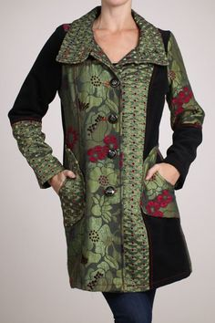 76.00 - This top shop charming jacquard fabric button down coat with contrast panels, over size collar, and pockets will pave the way for your everyday trips around city, ebuybit.com