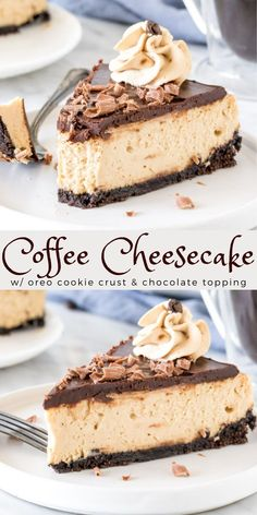 Fun Desserts, Delicious Desserts, Dessert Recipes, Yummy Food, Dinner Recipes, Holiday Desserts, Chocolate Topping, Chocolate Ganache, Coffee Cheesecake