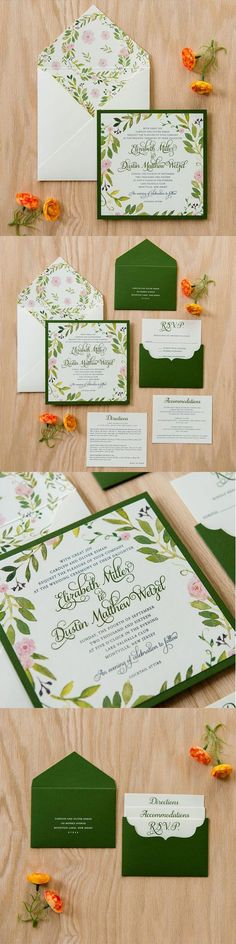 This perfect mix of #floral #watercolor and #rustic finish allows for a #garden #romance themed #invitation suite. Tucked inside of this botanic #envelope is a blossoming invitation, decorated in a #whimsical script, lies neatly on a mossy green background. The matching scalloped pouchette pairs effortlessly with the suite and delicately holds your accommodation #cards for the perfect finish.