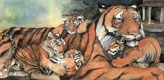 """""""Tiger and his family"""", watercolour by Jackie Morris -- From """"Lord of the Forest"""" written by Caroline Pitcher"""