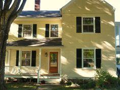Yellow House Black Shutters Red Door Exteriors Pinterest