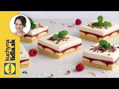 Vyskúšajte osviežujúce malinovo-piškótové rezy podľa receptu Adriany Polákovej. Celý videorecept a mnoho ďalších nájdete na stránke kuchynalidla.sk. Lidl, Cheesecake, Sweet, Recipes, Food, Youtube, Cakes, Candy, Cake Makers