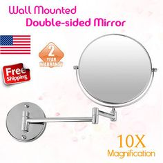 Advertisement 8 Foldable Round Wall Mounted Cosmetic Make Up Bathroom Mirror 10xmag Double Sided Mirror Makeup Mirror With Lights