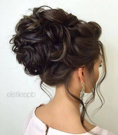 Loose Curly Updo Wedding Hairstyle