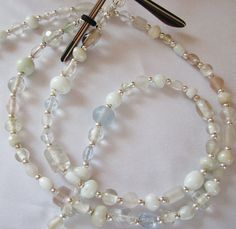 Mixed White Pressed Glass Beaded Eyeglass Chain Office by nonie615, $10.00