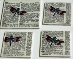 coasters make from tiles and old dictionary pages