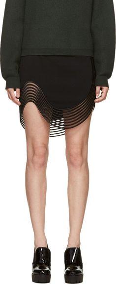 Stella McCartney Black Ribbed Wave Skirt