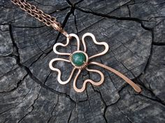Copper hand forged green clover necklace, Lucky clover pendant, Shamrock short necklace, Wire wrap jewelry, Unique gift for women, Handmade by MargoJewelryHandmade on Etsy https://www.etsy.com/listing/492338572/copper-hand-forged-green-clover-necklace