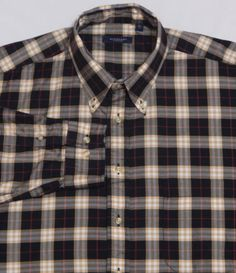 Mens-BURBERRY-LONDON-Long-Sleeve-Shirt-XL-Black-Beige-Shadow-Plaid-Nova-USA