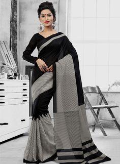Savory Print Work Art Silk Casual Saree