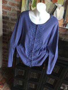 $9.99   Rafaella Corn Flower Blue Beaded Stitch Fix Urban Cardigan Sweater Top L #Rafaella #Cardigan