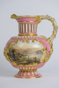 19th century English porcelain ewer, hand painted with scenes on both sides. 10'…