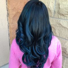 Black and blue balayage hair color by Rachel at Avante on Main Street Salon, Exton PA