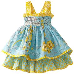 Jelly The Pug Baby-Girls Infant Poem Sassy Dress, Blue/Yellow, 12 Months Jelly… Toddler Dress, Toddler Outfits, Baby Dress, Kids Outfits, Little Dresses, Little Girl Dresses, Kid Dresses, Summer Dresses, Little Girl Fashion
