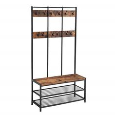 ⚜️ Add charm to your home with VASAGLE Industrial Coat Rack Shoe Bench, Hall Tree Entryway Storage Shelf, Large Size, Wood Look Accent Furniture with Metal Frame, Easy Assembly from Coat Rack Shoe Bench, Coat And Shoe Rack, Hat And Coat Stand, Coat Stands, Wood Storage Bench, Entryway Storage, Shoe Storage, Toilet Storage, Hidden Storage