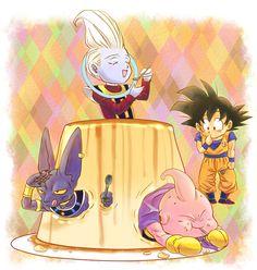 Goku, Whis, Lord Beerus, and Majin Buu