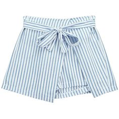 Chicnova Fashion Belted Striped Shorts (1535 RSD) ❤ liked on Polyvore featuring shorts, mid rise shorts, striped shorts, stripe shorts, belted shorts and cotton jersey shorts