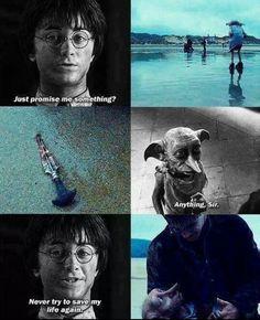 Harry Potter and Dobby. Saddest part of Harry Potter. Harry Potter Tumblr, Harry Potter World, Mundo Harry Potter, Harry Potter Jokes, Harry Potter Fandom, Harry Potter Triste, Magia Harry Potter, Hogwarts, Fans D'harry Potter