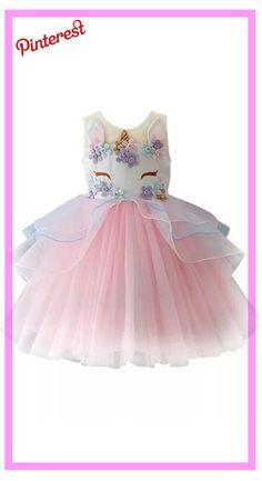 851518f83 Princesa de las muchachas Traje Unicornio Tule Tutu Fiesta De Cumpleaños  Del Traje Fantasía up Vestido