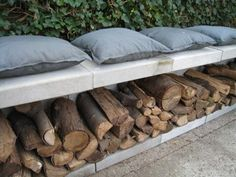 Outside BBQ Seating with a double-function of storing Wood