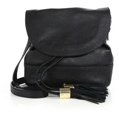 See by Chloe Vicki Pebble Leather Flap Bucket Bag ($445) ❤ liked on Polyvore featuring bags, handbags, shoulder bags, apparel & accessories, bucket bag, see by chloe purse, flap handbags, see by chloé and tassel handbag