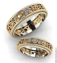 ручной работы. Ярмарка Мастеров - ручная работа. Купить Обручальные кольца  с бриллиантами. Handmade. Свадьба, любимой, любимому a150400709c