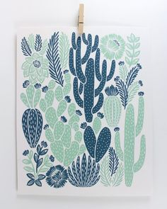 Cactus Print Printed on recycled, heavyweight, speckletone paper. 8 x 10 Ships in clear, archival bag with a sturdy stay flat mailer. Great for the home or give as a gift