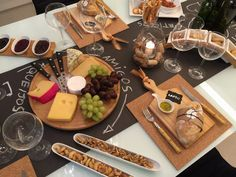 Cheese Tray, with all the things Wine And Cheese Party, Wine Tasting Party, Wine Parties, Wine Cheese, Charcuterie Platter, Chalkboard Decor, Cheese Platters, Cafe Food, Decoration Table