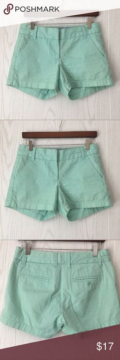 """J. Crew Mint Chino Short J. Crew Mint Chino Short - front and back pockets; 3"""" inseam. 100% cotton. Cutest color 😊 and wonderful condition. No flaws or stains. Size 0 J. Crew Shorts"""