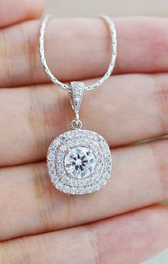 Halo Style Lux Cubic Zirconia bridal necklace from EarringsNation bridesmaid gifts