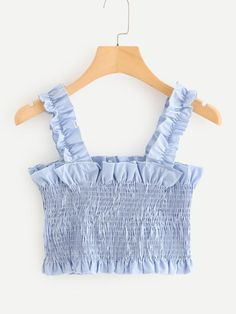 Frill Trim Pleated Crop Top Women Clothes For Cheap, Collections, Styles Perfectly Fit You, Never Miss It! Girls Fashion Clothes, Teen Fashion Outfits, Mode Outfits, Cute Summer Outfits, Cute Casual Outfits, Girly Outfits, Cute Crop Tops, Kids Crop Tops, Tank Tops
