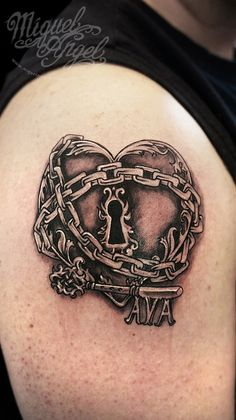 Heart padlock, chain, and key w/ name tattoo | Flickr - Photo Sharing!