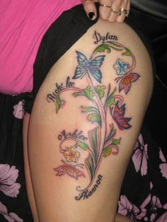 Image detail for -tattoo yakuza and fashion: butterfly tattoos represent beauty and . susan hall · children's names tattoo ideas Butterfly Thigh Tattoo, Butterfly With Flowers Tattoo, Butterfly Tattoos For Women, Foot Tattoos For Women, Butterflies, Cute Foot Tattoos, Girl Thigh Tattoos, Flower Thigh Tattoos, Tattoo Thigh