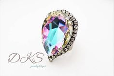 Cotton Candy Swarovski Statement Ring Large Pear Halo