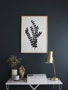 Black Paint | Brass Table Lamp | Office Space | Fern artwork